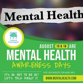 Green Mental Health Awareness Square Video Cuadrado (1:1) template