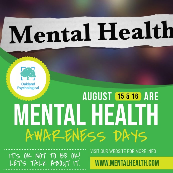 Green Mental Health Awareness Square Video Carré (1:1) template