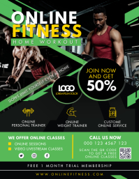 Green Online fitness Home Workout Ad Flyer