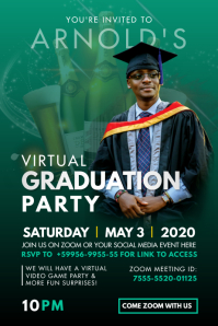 Green Online Grad Party Invitation Poster