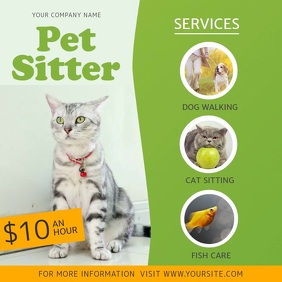 Green Pet Sitter Services Ad Square Video template