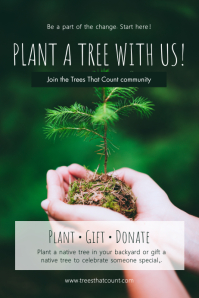 Green plant a tree poster template