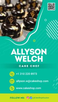 Green Portrait Cake Chef Business Card Besigheidskaart template