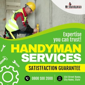 Green Professional Handyman Services Ad Squar