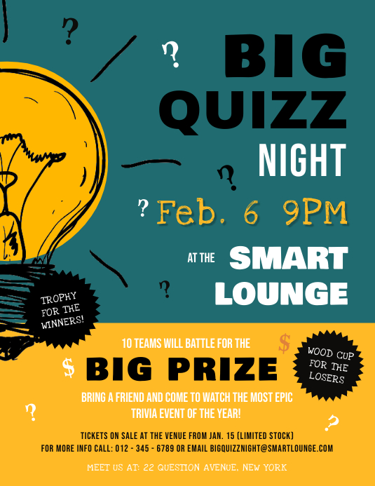 Green Quiz Night Flyer Template PosterMyWall