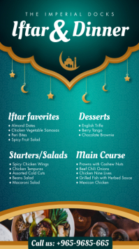 Green Ramadan Iftar Menu Digital Display Temp template