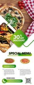 Green Restaurant Roll up Banner Design Rolbanner 2' × 5' template