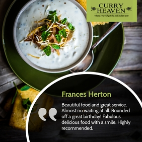 Green restaurant testimonial instagram post template