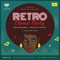 Green Retro Dance Party Instagram Image Instagram-Beitrag template