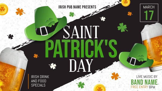 Green Saint Patrick's Day Digital Display Pub Ad Image template