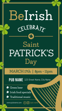 Green Saint Patrick's Day Pub Ad Digital Display Portrait Im