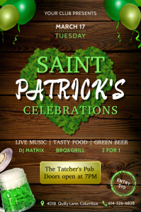 Green Saint Patrick's Day with beer & clover