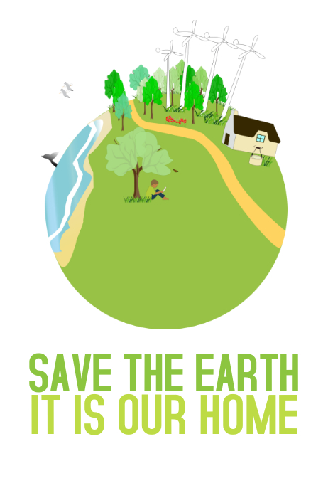 green save the earth home love poster template