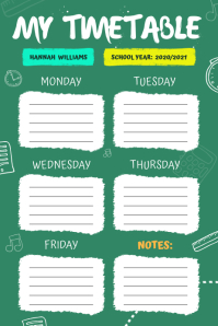 Green School Timetable Portrait Poster