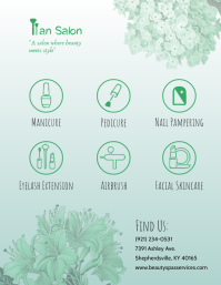 Green Serene Nail Salon Advertisement Volante (Carta US) template