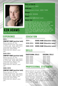 green simple free cv resume poster flyer template