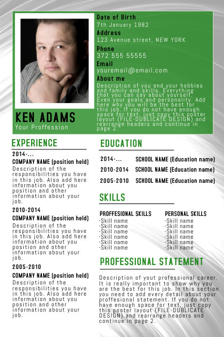 copy of green simple free cv resume poster flyer template