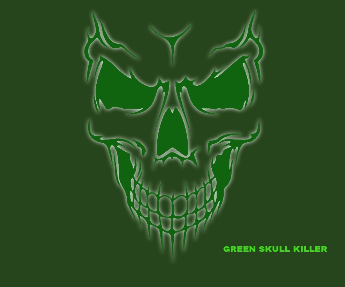 GREEN SKULL KILLER TATTOO TEMPLATE Medium Rectangle