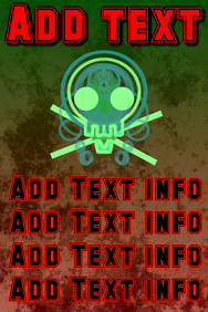 Green skull with red and black text