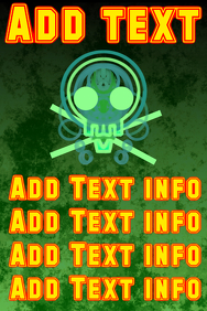 green skull with red and yellow text