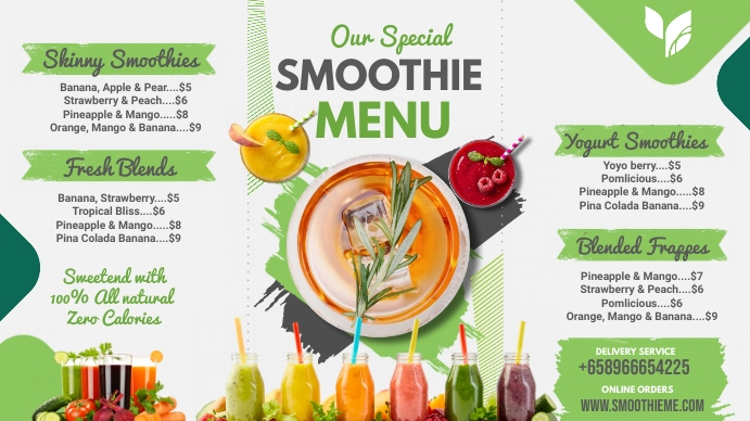 Green Smoothie Bar Menu Digital Display Templ template