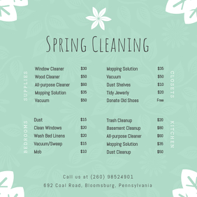 Green Spring Cleaning Price List Instagram Post template
