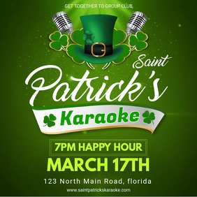 Green St Patrick's Day Karaoke Party Invitati