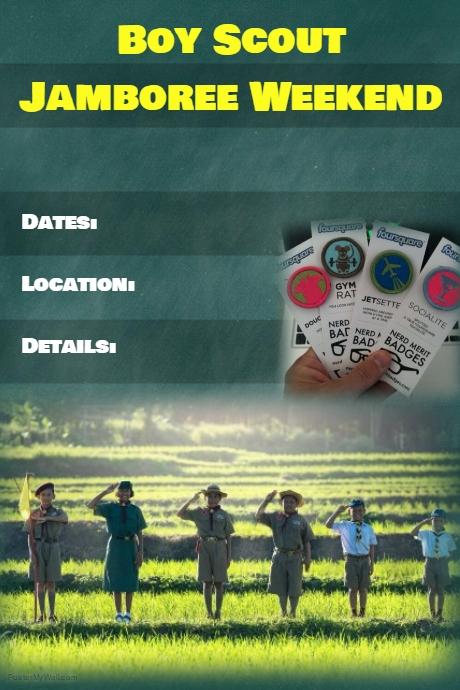 Green Stripe Boy Scout Event Flyer Poster Invitation