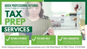 Green Tax Preperation Service Banner Design Facebook Cover Video (16:9) template