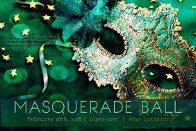 Green Teal Mask Masquerade Ball Costume Mardi Gras Blue Star