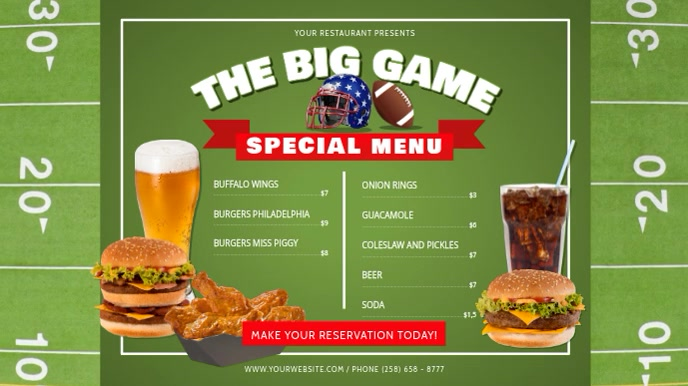 Green The Big Game Restaurant Digital Display Video