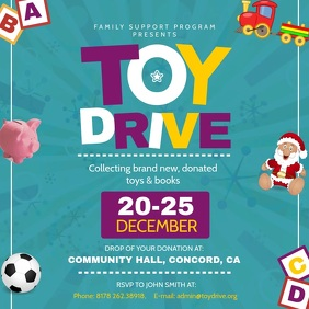 Green Toy Drive Fundraising Square Video template