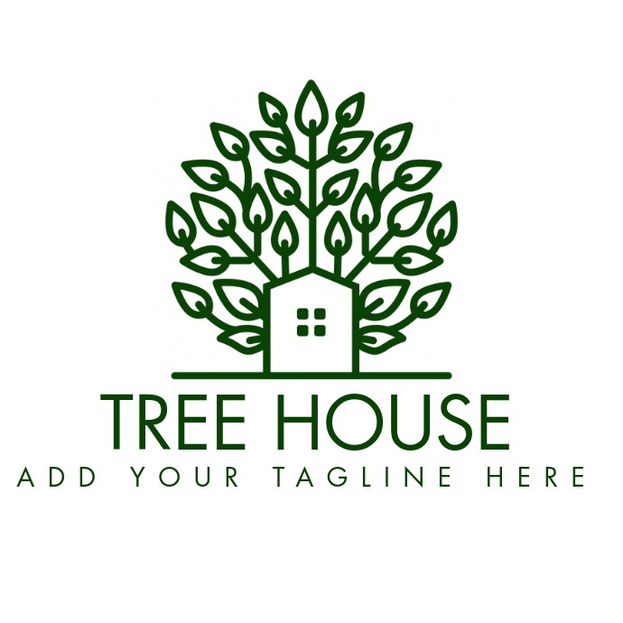 green tree house icon logo template