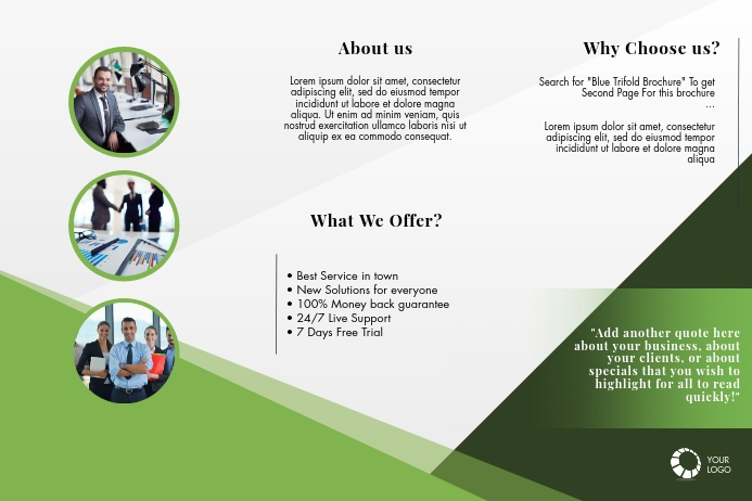 Green Trifold Brochure Template Poster