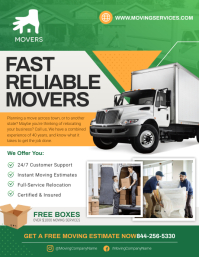 Green Truck Movers Flyer 传单(美国信函) template