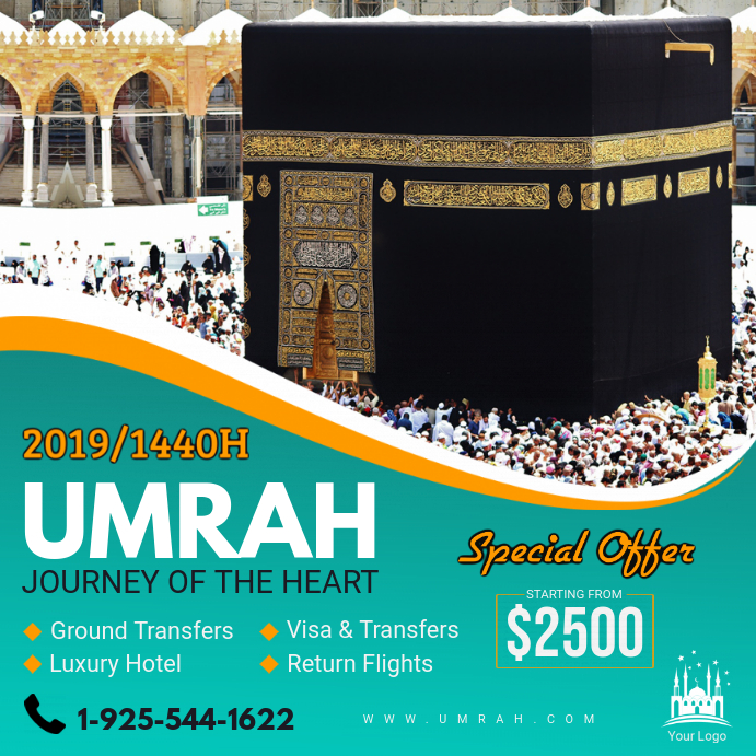 Green Umrah Travel Agency Advert Design Instagram na Post template