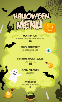 Green US Legal Halloween Menu template