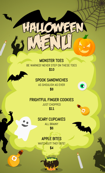 green us legal halloween menu template postermywall