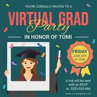 Green Virtual graduation party invite templat Publicação no Instagram template