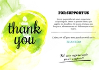 Green Watercolor Thank You Card Ikhadi leposi template