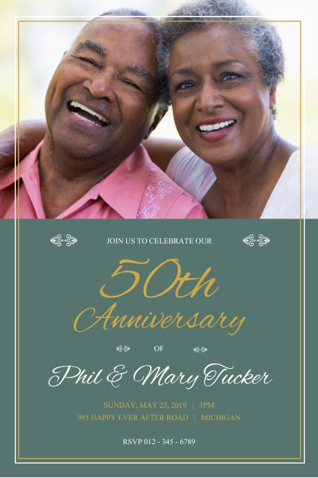Green Wedding Anniversary Poster