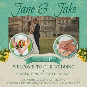Green Wedding Invitation Square Video