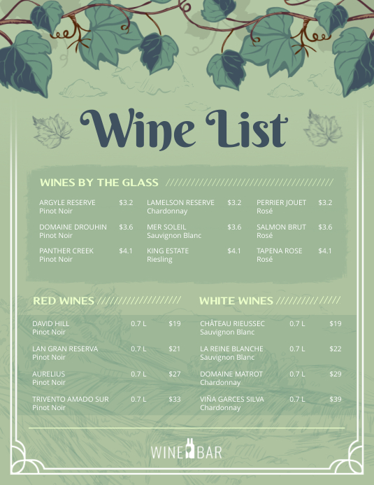 Green Wine List Menu Flyer template