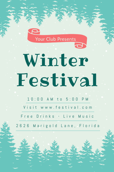 Green Winter Festival Poster Template โปสเตอร์