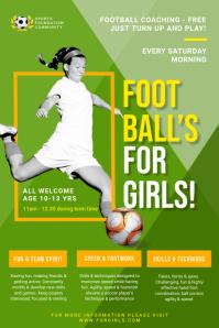 Green Women's Football Flyer Template Poster