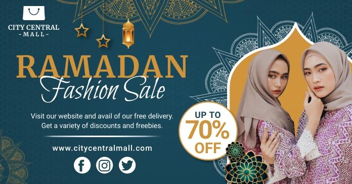 Green Women's Ramadan Sale Facebook Post Temp template