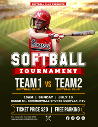 Green Women's Softball Tournament Flyer Templ template