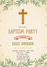 Greenery baptism party invitation A6 template
