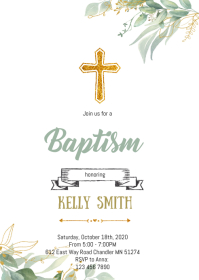 Greenery baptism theme invitation A6 template