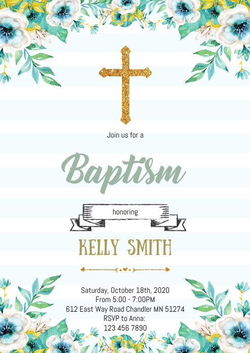 Greenery blue baptism theme invitation A6 template